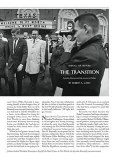 Robert Caro's new book about LBJ comes out on May 1st. His latest New Yorker piece about how LBJ was affected by JFK's assassination.