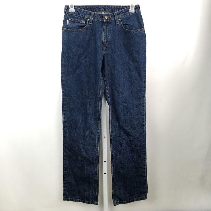 Carhartt jeans womens size 8 X 34 dark wash cotton #Carhartt #RelaxedStraightLeg