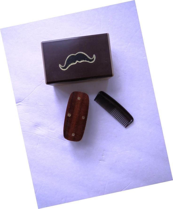 vintage mens mustache brush comb set by swank mustache. Black Bedroom Furniture Sets. Home Design Ideas