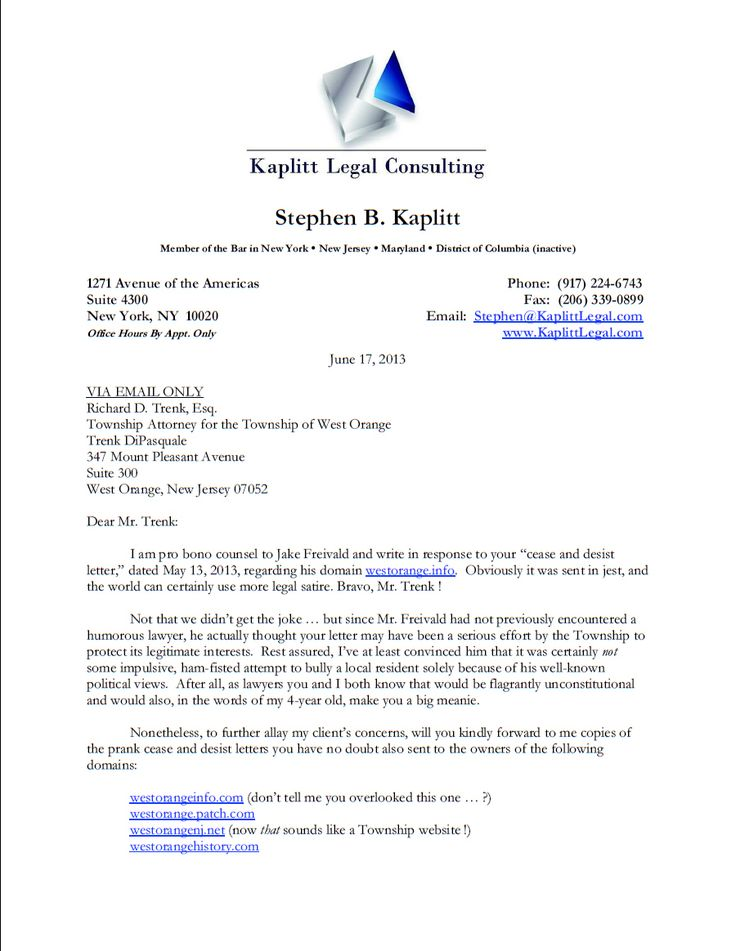 THE best answer to a cease and desist order EVER. Absolutely hilarious. I want this lawyer for my lawyer.