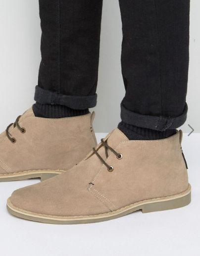 Ben Sherman Mocam Desert Boots In Beige Suede ($95)