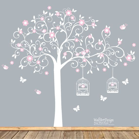 White Swirl Tree with Pink Flowers Birds Nursery Vinyl Wall Decal Sticker on Etsy, £70.25