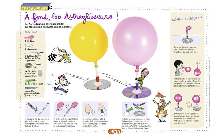 Les Astraglisseurs: un bricolage pour les enfants pour fabriquer de petits bolides avec des CDs et des ballons de baudruche. Extrait du magazine Astrapi n°811 pour les enfants de 7 à 11 ans.