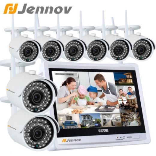 Jennov Hdmi 1080p 8ch Nvr Wireless Ir Outdoor Network Surveillance Ip Camera Lcd System Di-k8-a73wj20-v12 Bullet 8 2mp(1920x1080) Cctv/closed System-wireless 1080p,wireless,infrared,night Vision 1080p,hdmi,p2p,qr To Remote Acce Continuous Time Shcheduled Motion