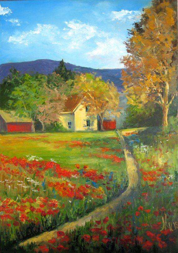 Tuscany Landscape Oil Painting On Canvas Italy Original Art Country Painting With Poppies Hermosos Paisajes Paisaje Urbano Paisajes