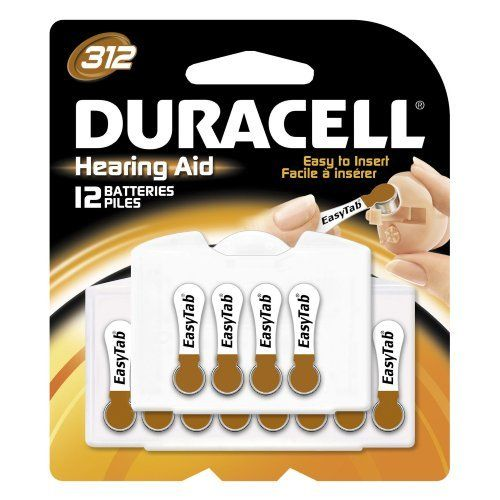 Duracell EasyTab Hearing Aid Batteries Size 312 (24 batteries) by Duracell. $15.99. DURACELL is a global marketer of hearing aid batteries. When you need reliable, long lasting power for your hearing aid, use a DURACELL hearing aid battery.  Introducing DURACELL Hearing Aid Batteries with EASYTAB -- The world's first easy to use hearing aid batteries. New EASYTAB makes changing your hearing aid batteries as easy as 1-2-3. Easy to open package, Easy to remove the batter...