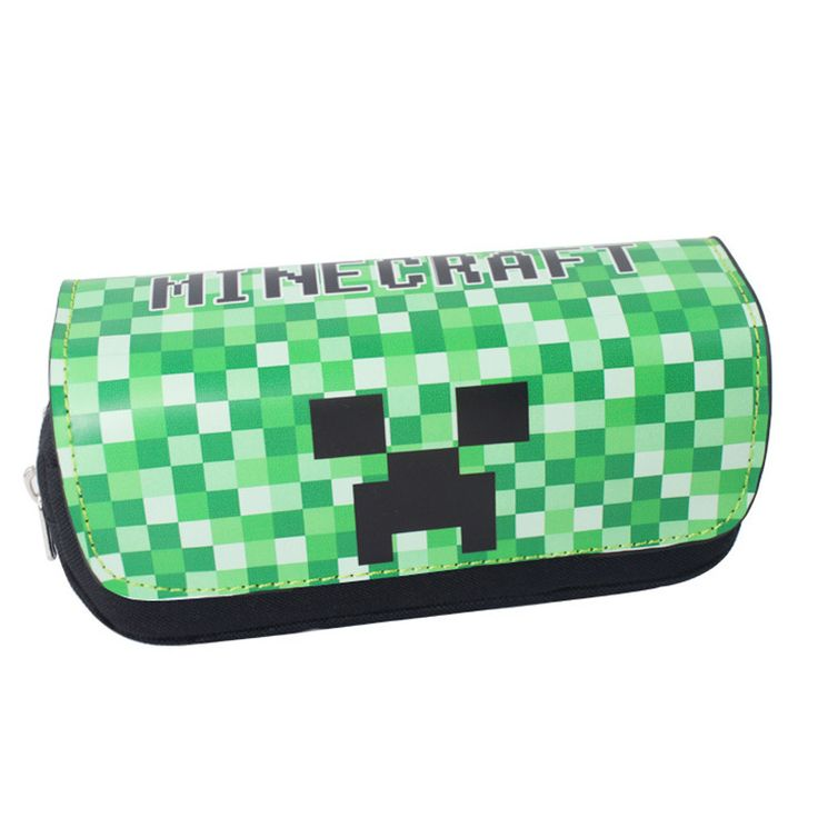 Classic Game Minecraft Pencil Case Animated Cartoon Double layer Zipper Large Capacity Pencil Bag Kids Gift Stationery Supplies