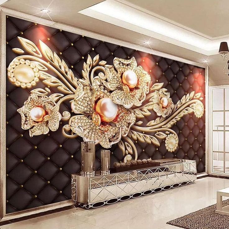 Custom Mural Wallpaper Black Jewel Diamond Pearl Flower European Style Living Room Bedroom Tv Background Wall Painting Pictures Custom Photo Wallpaper Custom Murals Mural Wallpaper
