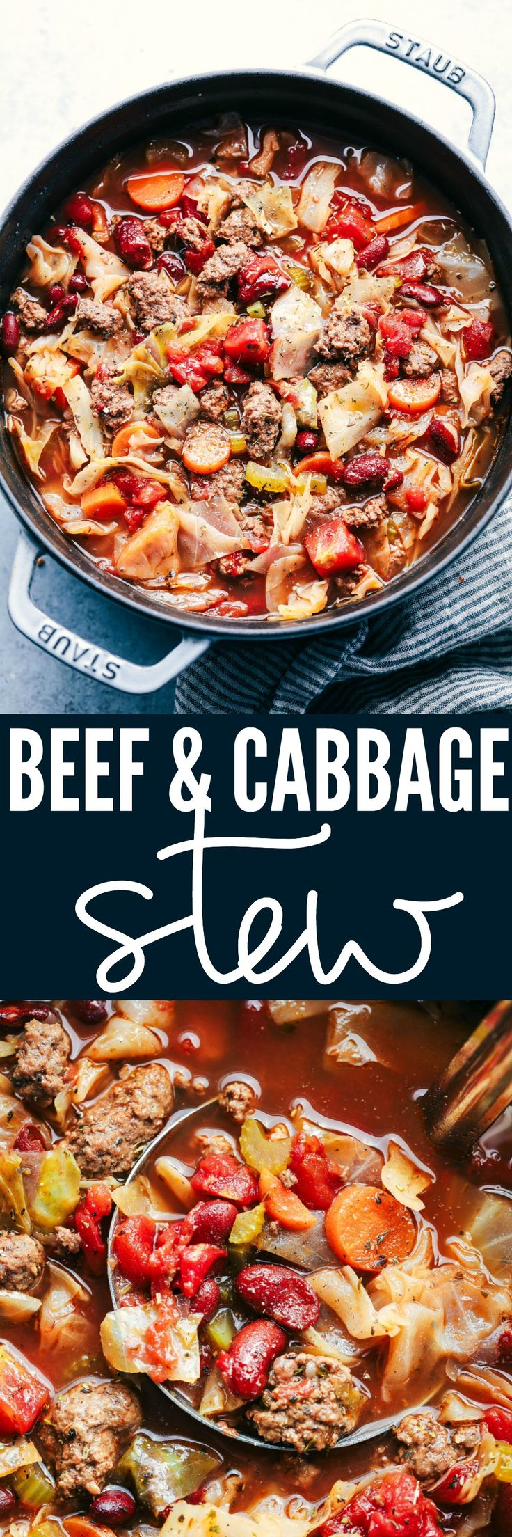 Beef and Cabbage soup is so hearty and filled with beef and tons of amazing and tender veggies. This soup is healthy and delicious and full of flavor!  #beef #cabbage #soup