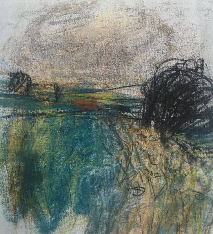 "Joan Eardley and her pastel landscapes: Joan Eardley, ""Barley Fields,"" c.1961-1962, pastel on paper, 8 7/8 x 8 1/4 in, Private Collection. The sky is dark, the wind blows and you can feel the rustling of grasses. You can see in this pastel, the visual language that emerged. You can see the same markings in her gouache and oil paintings."