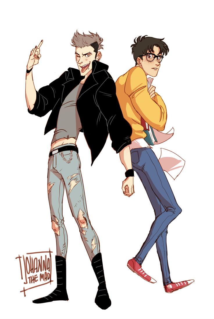 chloesullivanz: Jeanmarco drawing I commissioned from johannathemad Punk!Jean and Nerd!Marco oh my god! <3
