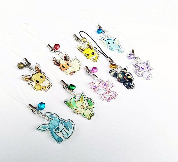 Pokemon Eevee evoluties 1 Mini acryl charme met telefoon riem