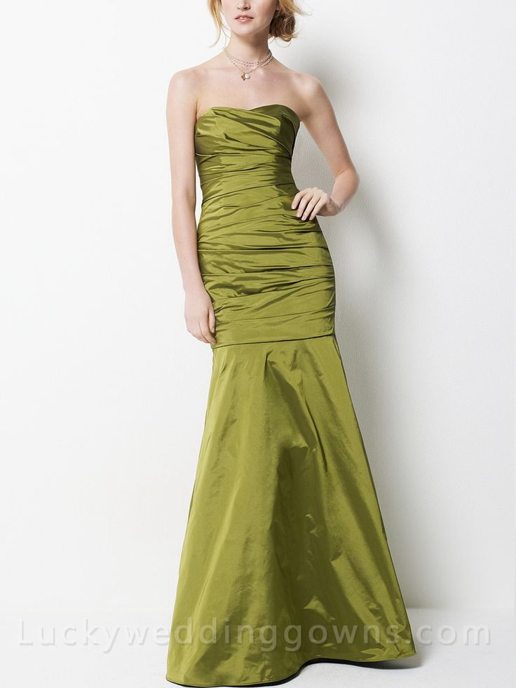 Taffeta Strapless Long Bridesmaid Dress