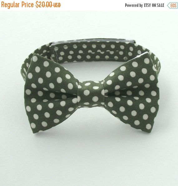 Boy's Olive Bow Tie, Olive Polka Dots, Army Green, Dark Green, Toddler Bow Tie, Baby, Infant, Kids, Ring Bearer, Page Boy
