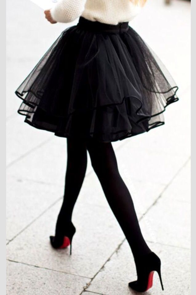 Tulle and Louboutin oh my - nothing like setting the standard for style and taste. Winter wool sweater, setting the tone skirt stiletto heels.