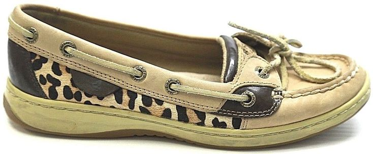 Women's Sperry Top Sider Angelfish Pony Hair Leopard Print Boat Shoes Sz 5.5 #SperryTopSider #BoatShoes