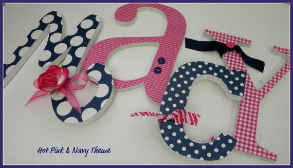 Wooden Letters Nursery - HOT PINK and NAVY Theme - Baby Girl-avail in any size or font in this shop on Etsy, $8.50