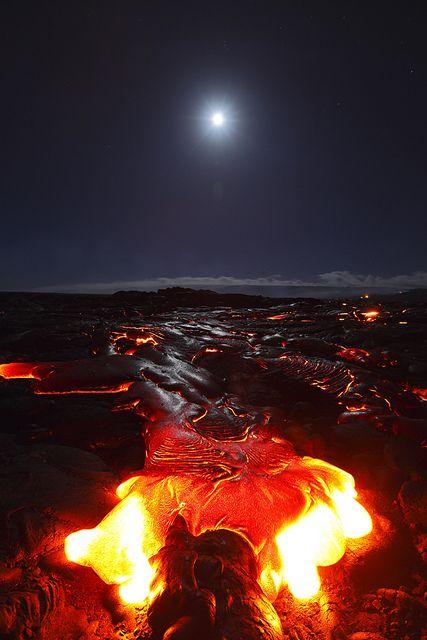 Moon and Kilauea Volcano, BIg Island, Hawaii <3