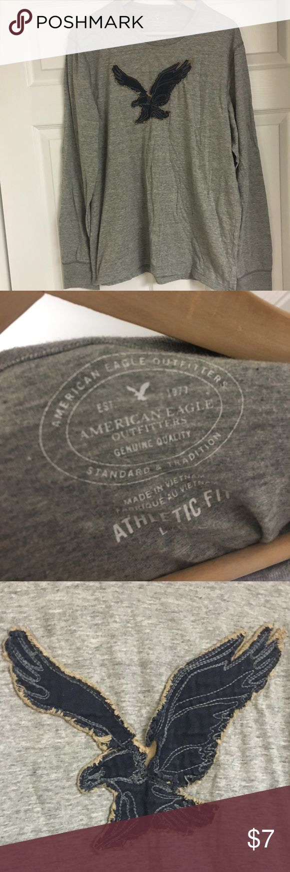 ‼️American Eagle Mens Long Sleeve Graphic Tshirt - American Eagle Brand - Gray color - Long sleeve t-shirt - Size L - Eagle decal on shirt - Good condition American Eagle Outfitters Shirts Tees - Long Sleeve