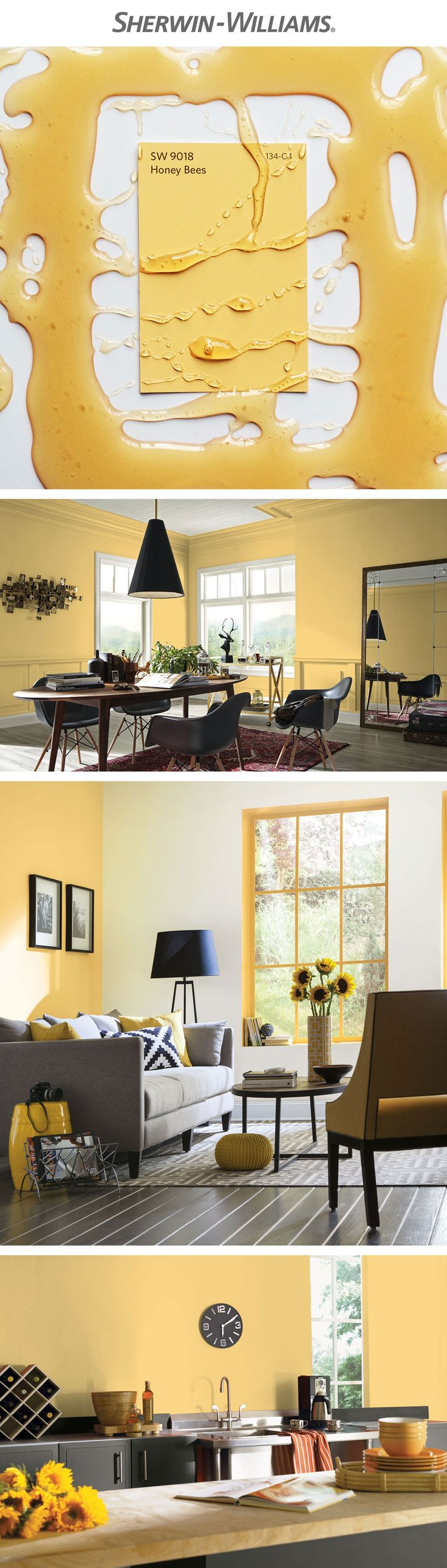 Sweeten any space with a soft, sunny hue, like April's Color of the Month, Honey Bees SW 9018.