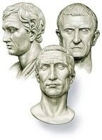 Triumvirate: a group of three men holding power, in particular ( the First Triumvirate ) the unofficial coalition of Julius Caesar, Pompey, and Crassus in 60 BC and ( the Second Triumvirate ) a coalition formed by Antony, Lepidus, and Octavian in 43 BC