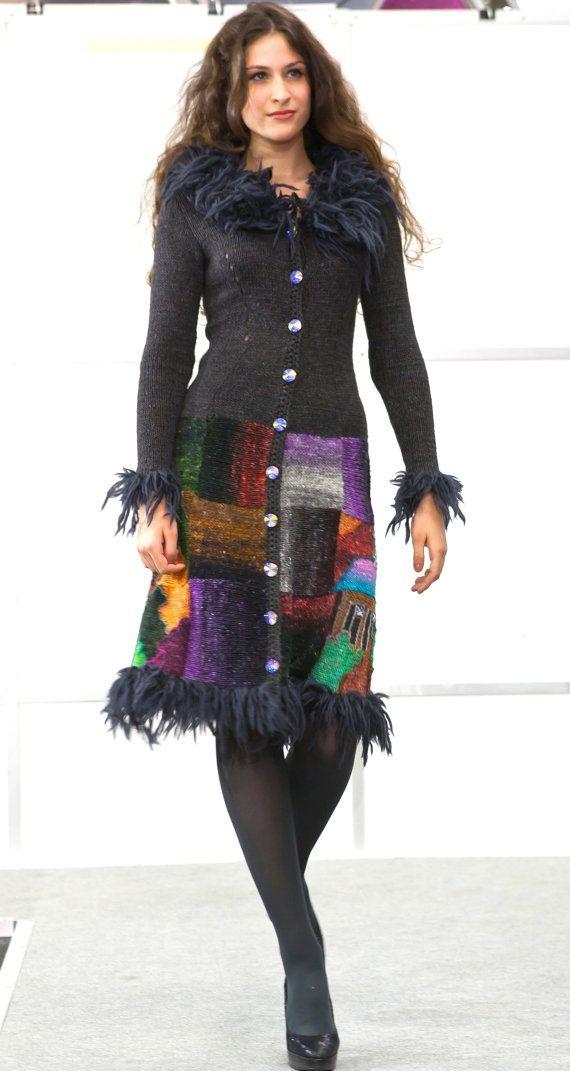 Handmade knitted short coat HOUSES AGAIN for by annalesnikova, $1650.00