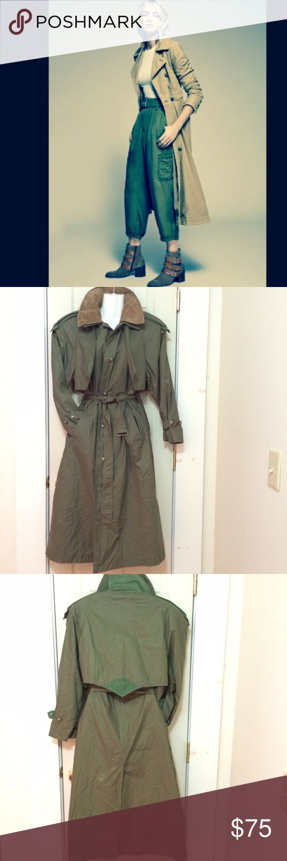 "❤️BEAUTIFUL LONG MAXI TRENCH DUSTER COAT JACKET❤️ ❤️BEAUTIFUL LONG MAXI TRENCH DUSTER COAT JACKET  💗ONE OF A KIND UNIQUE VINTAGE  ❤️COMFORTABLE  💗EXCELLENT CONDITION 💗STYLISH & FUNCTIONAL Suede Collar,Corduroy Collar, sleeve,shoulder &back details  -One Size Fits Most.Tagged size 6 -aprox.47""length -Aprox. 21""laying flat from armpit to armpit,chest  *Not Free People Anthropologie *Brand MISTY HARBOR light areas on back,not noticeable when wearing  TAG:army green olive…"