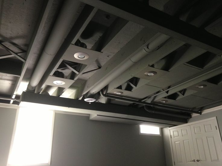 Recessed Lighting Keeps Falling Out : Exposed painted basement ceiling spray would