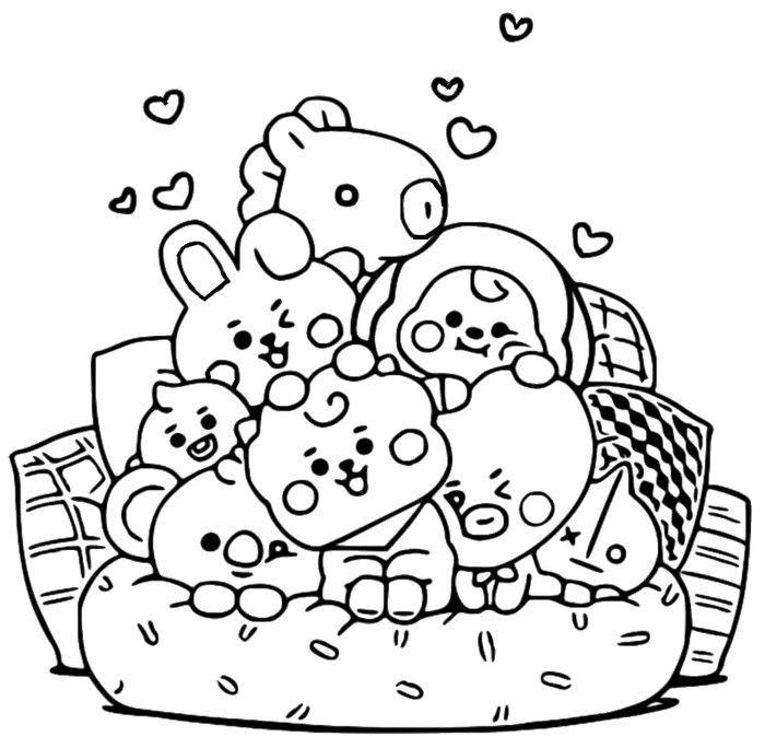 Coloring Page Bt21 On The Couch 7 Buku Mewarnai Gambar Tengkorak Seni Doodle