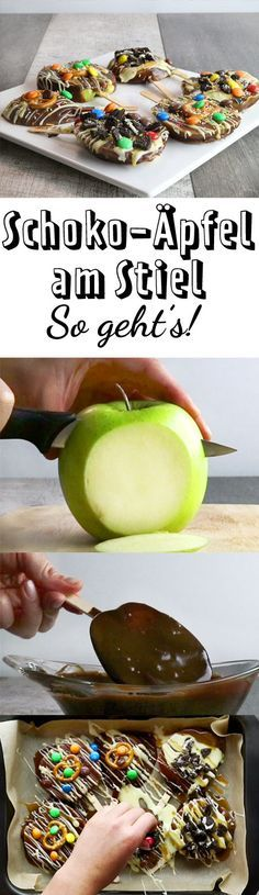Schokoladenäpfel am Stiel – so geht's   – essen
