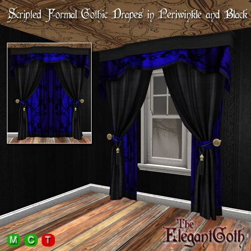 scripted openclose formal gothic drapes in periwinkle and black skriptehllendgotischdekorierenfensterstilepsschwarzvorhnge - Gotische Himmelbettvorhnge