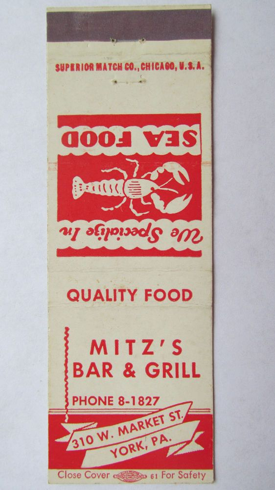 Mitz's Bar & Grill - York, Pennsylvania PA Restaurant 20 Strike Matchbook Cover