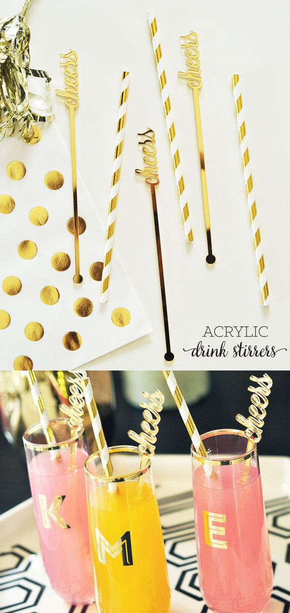Cheers Drink Stirrers will add a little sparkle to your wedding cocktails! These Gold Mirror Stirrers spell out cheers in a dainty lettering - by Mod Party