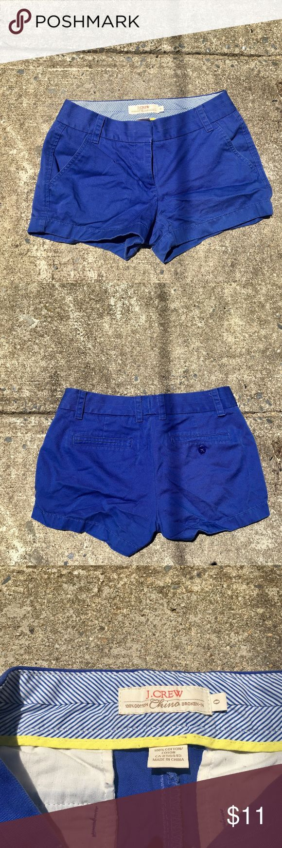 """J. Crew Broken In Chino Shorts Size 0 Cobalt blue shorts from J. crew. Gently used.  Size 0. 3"""" inseam. J. Crew Shorts"""