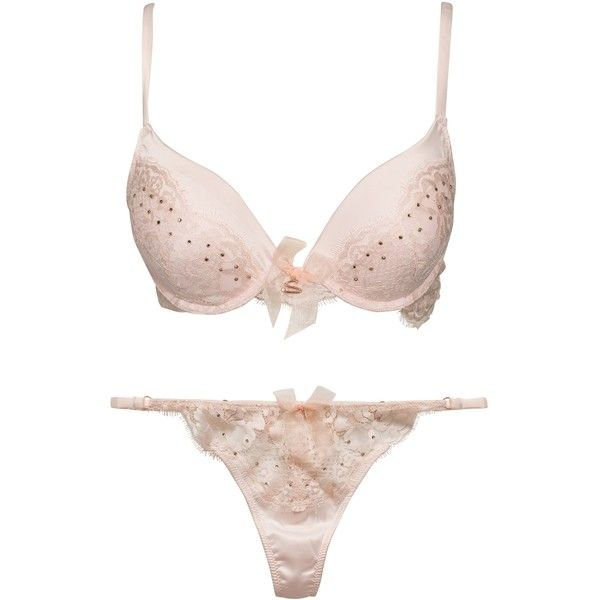 Hunkemöller Sylvie Lace Push Up Set (340 BRL) ❤ liked on Polyvore featuring intimates, underwear, underwear sets, complete sets, pink, womens-fashion, hunkemöller, underwire push up bra, lace underwire bra and padded lingerie