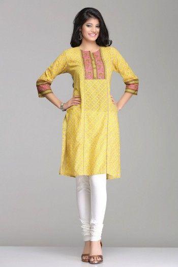 Beautiful Yellow & Pink Straight Cotton Kurta By Farida Gupta
