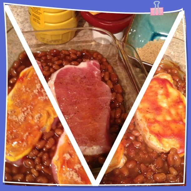 Pork n bean bake. Layer bottom of dish with pork n beans.  Place seasoned pork chops on top of beans. Glazing the pork chops with a thin layer of mustard and ketchup. Then sprinkle the top with a little bit of brown sugar. Bake at 350 for 40 mins
