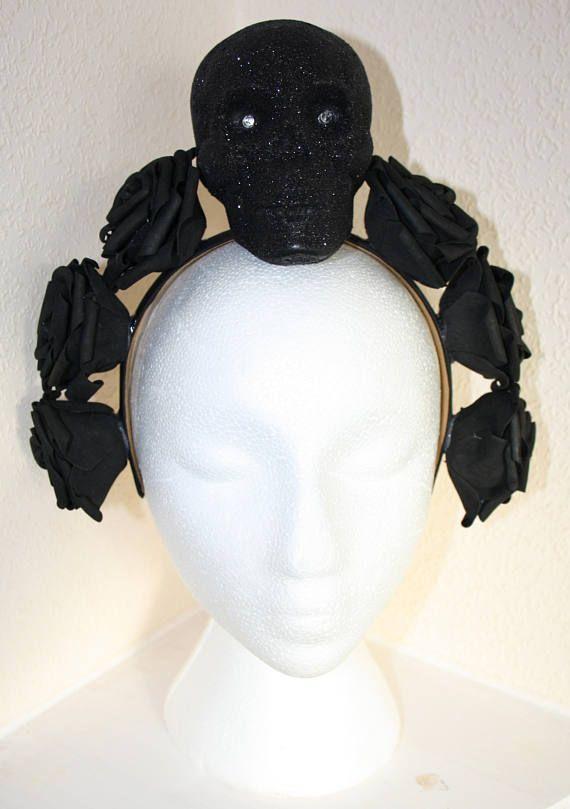 Skull Headdress Black Headband Headpiece Halloween Goth Gothic Alternative Glitter Spooky LED Lights Up