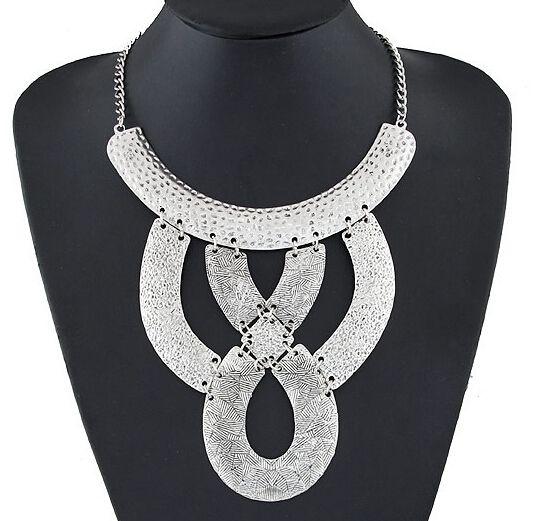 SPX6095 Free shipping Hot Ladies Punk Sexy vintage Bronze Metal  Hollow Choker Collar Maxi Bib Big Necklace
