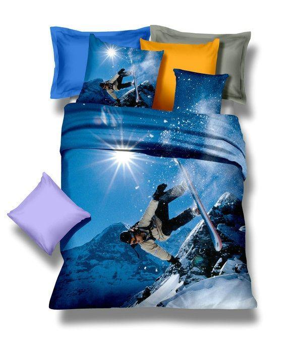 Súprava posteľných obliečok v modrej farbe so snowboardistom