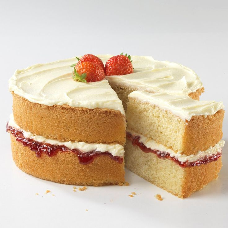 This is classic Victoria sandwich cake is beautifully moist and simply delicious. To make alternative flavours, you could try adding cocoa powder or coffee and walnuts.