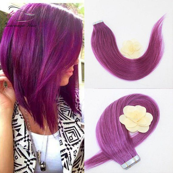 Tape in human hair extension/ purple hair/ombre ta…