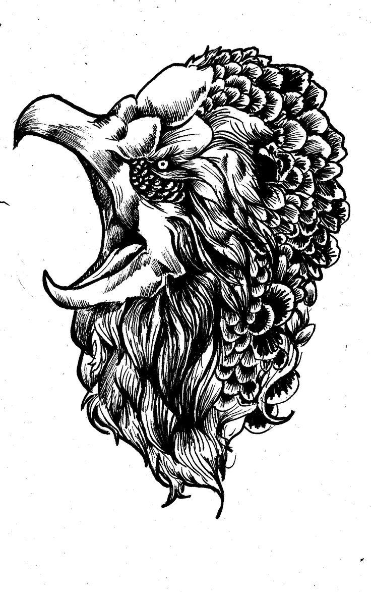 Bird scan/ink sketch. Lines with fine marker.