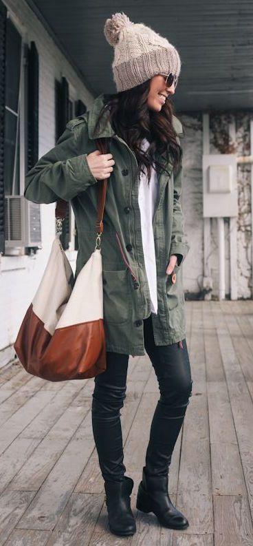 #winter #fashion / olive green jacket