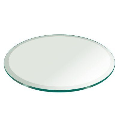 Fab Glass and Mirror Round Glass Table Top 0.75 in. Thick Tempered 1 Beveled Edge - 24RT19THBEAN