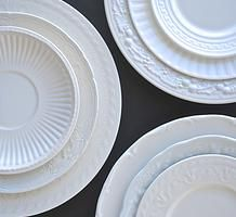 Vintage white plate collection for hire for weddings and events