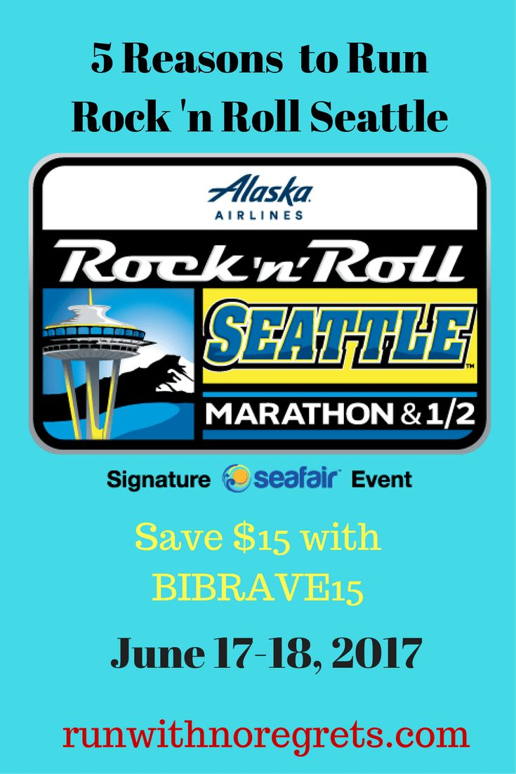 I'm so excited to run the Rock 'n Roll Seattle Half Marathon for the first time!  Check out my 5 reasons why to run RNR Seattle and you save save $15 on registration with code BIBRAVE15 for the half or full marathon!