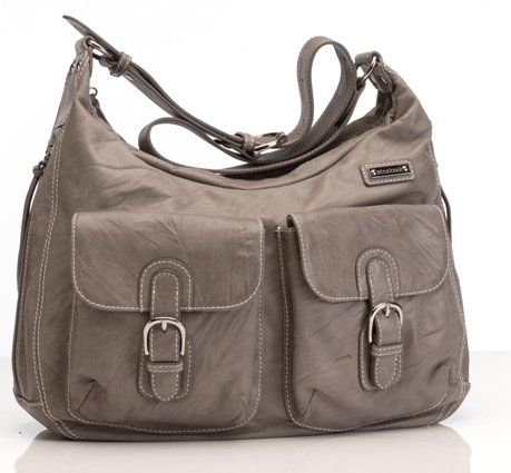 Storksak Emily Leather Diaper Bag - Taupe | Designer Diaper Bags and Maternity Clothes Available at Due Maternity www.duematernity.com