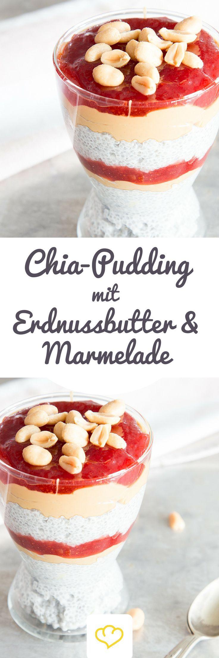 Chia-Pudding mit Erdnussbutter und Marmelade Für dich gehören Marmelade und Erdnussbutter zum Frühstück dazu? Dann verstreich sie doch mal auf gesundem Chia-Pudding. Das Beste: Dein Frühstück ist in 5 Minuten fertig, denn die Powerkörner quellen über Nacht. Lust auf noch mehr schnell gemachte Frühstücksvarianten? Dann sind Overnight Oats perfekt für dich.