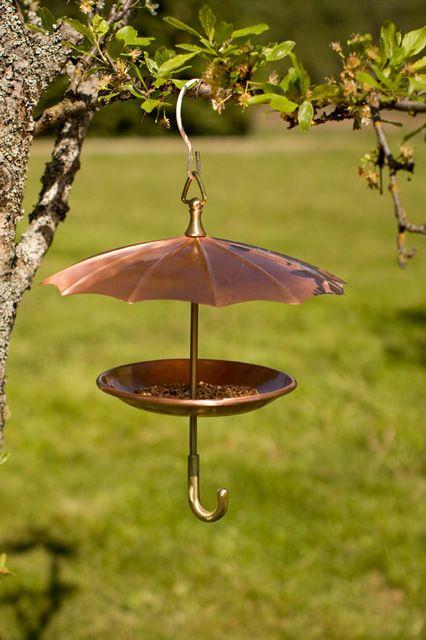 Copper Umbrella Bird Feeder eclectic-bird-feeders